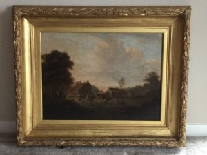 "George Morland (British, 1763-1804), ""English Cottages"", oil on board, unsigned, antique frame"
